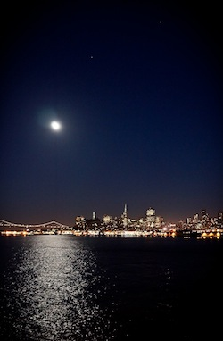 Fig. 5: Downtown San Francisco and the Bay Bridge at night as seen from the Bay.