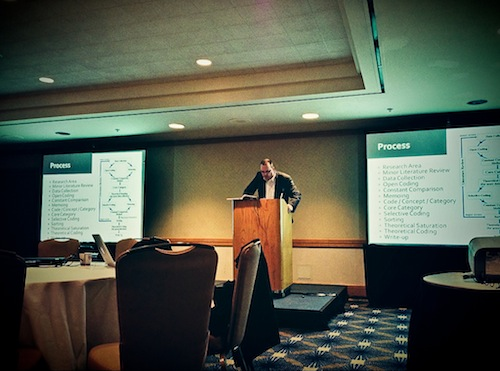 Fig. 7: James Noble giving is CHASE 2013 keynote talk on applying Grounded Theory in software engineering research.